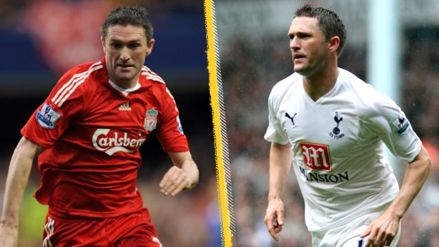 A split image of Robbie Keane in action for both Liverpool and Tottenham