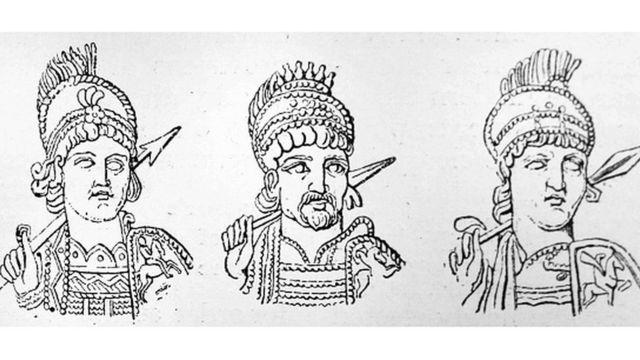 مشرقی سلطنت رم کے تین شہشناہ: انستاسیس (430-518)، جسٹن اول (450-527)، جسٹینین (483-565)