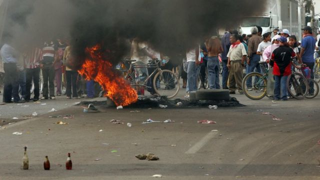 Disturbios en Atenco, México.