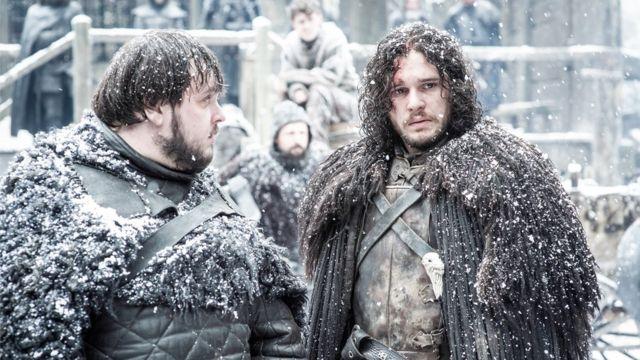 Actors Kit Harrington and John Bradley in international TV hit series Game of Thrones