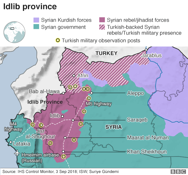 Map shows areas of control in Syria's Idlib province as of 3 Sept 2018
