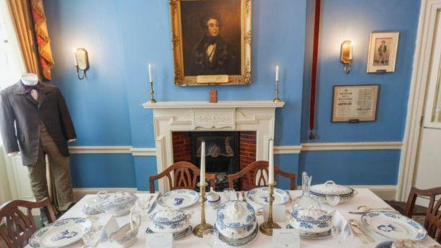 El comedor de la casa de Dickens en Londres, ahora convertido en el Museo Charles Dickens.
