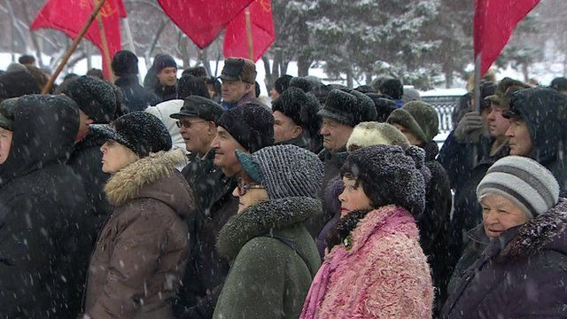 People standing in the cold in Novosibirsk in Siberia, Russia