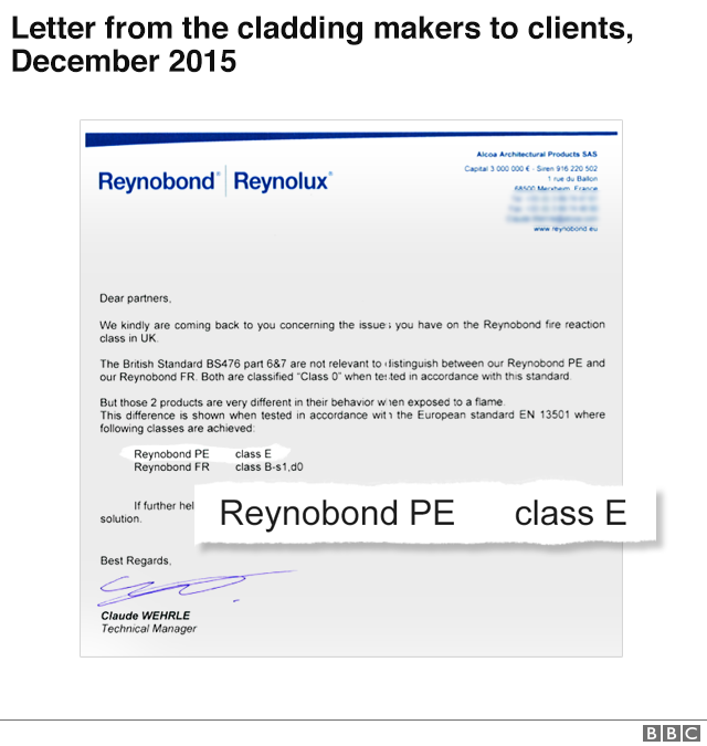 Letter from cladding makers to clients, Dec 2015