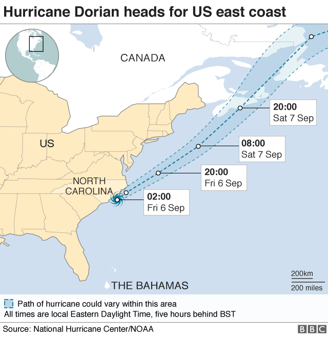 Map of Hurricane Dorian's predicted path