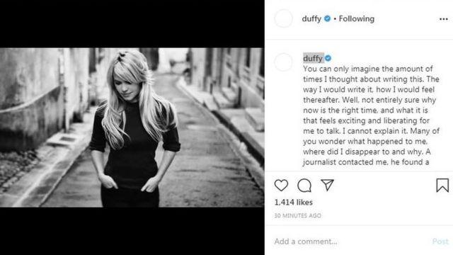 Duffy's Instagram post