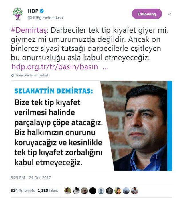 Selahattin Demirtaş'ın mesajı twitterda