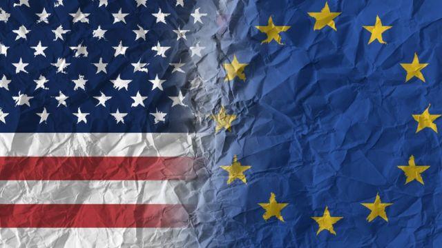 Bandera de Estados Unidos y la UE
