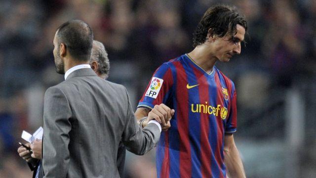 Ibrahimovic junto a Guardiola