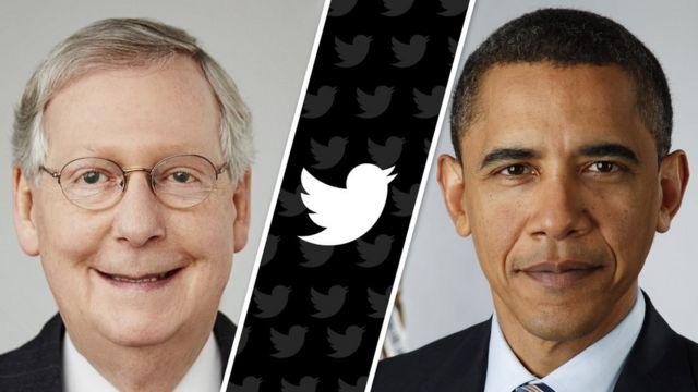 Mitch McConnell solda ve Barack Obama