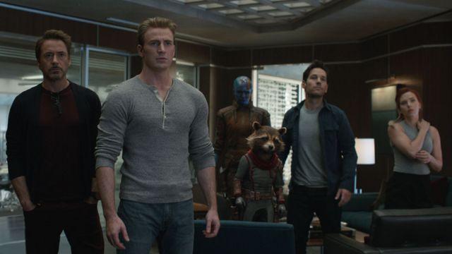 Robert Downey Jr, Chris Evans, Karen Gillan, Paul Rudd and Scarlett Johansson in Avengers: Endgame