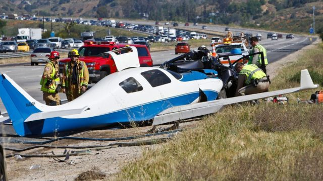 California freeway crash: One dead as plane hits car near San Diego