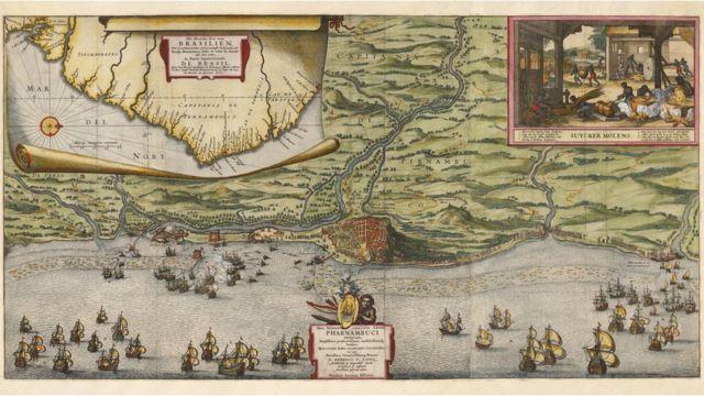 Olinda, então cidade mais rica do Brasil Colônia, foi saqueada e destruída pelos holandeses, que escolheram Recife como a capital da Nova Holanda. O mapa de Nicolaes Visscher mostra o cerco a Olinda e Recife em 1630