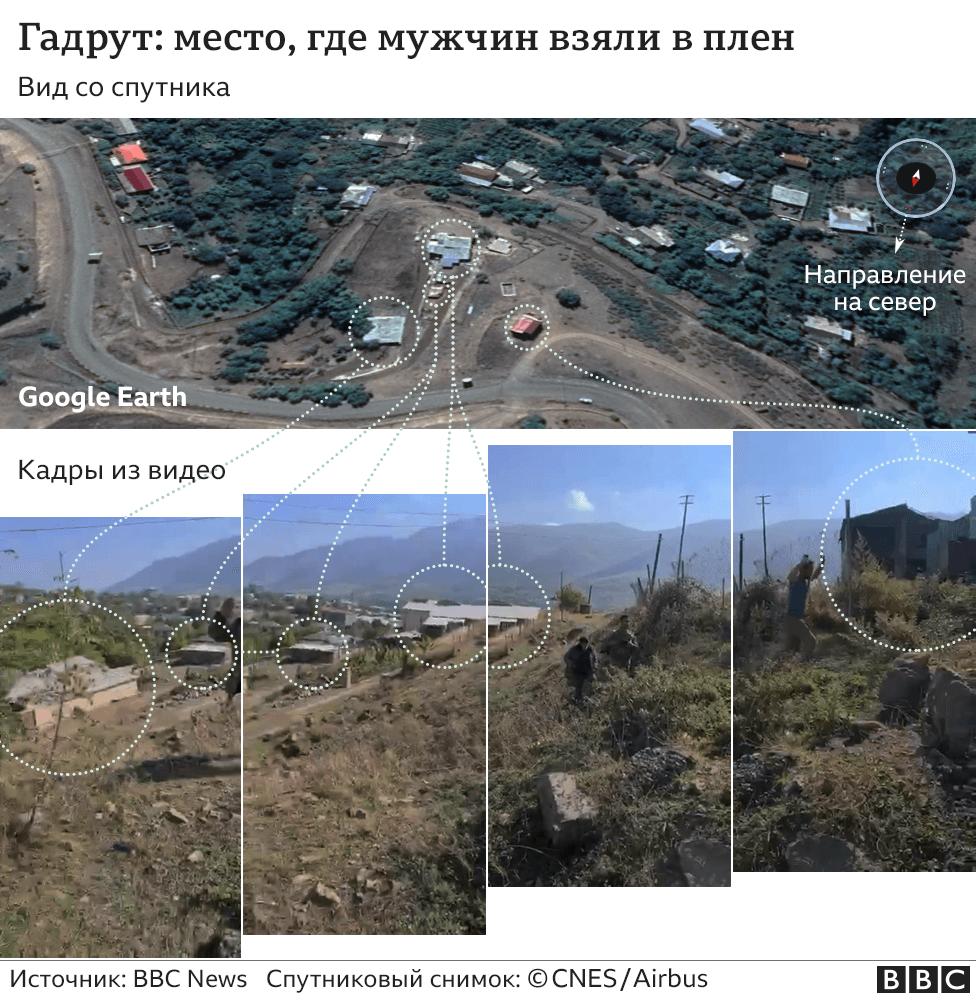 Место пленения: вид со спутника и кадр из видео