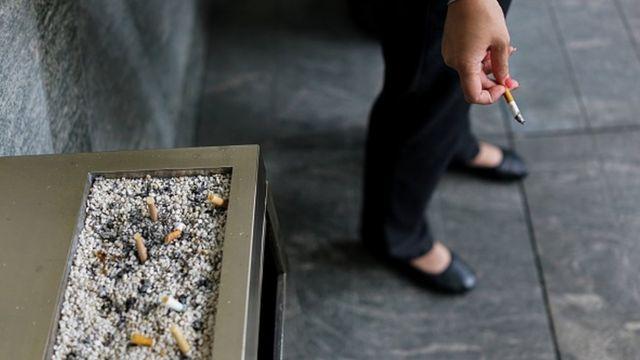 A woman smoking in Shanghai