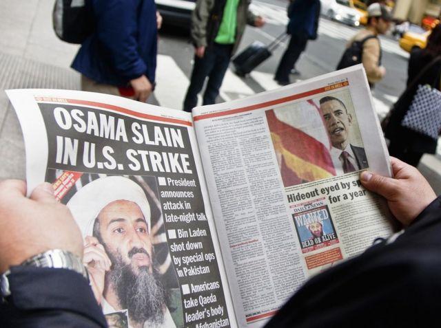 El Kaide lideri Usame bin Ladin'in öldürüldüğü haberini yazan bir gazete