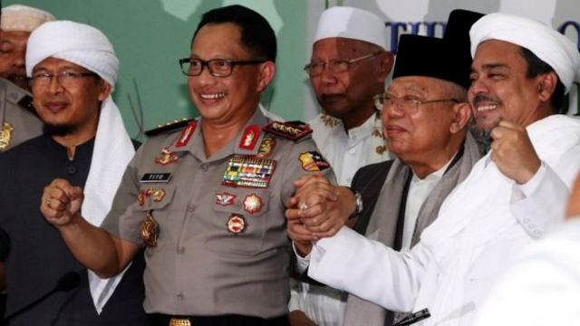 Rais AM PBNU dan Ketua MUI Maruf Amin (kedua dari kanan)