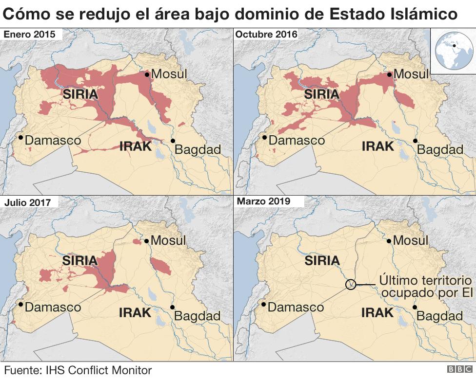 Mapa con la reducción del territorio bajo dominio de Estado Islámico.