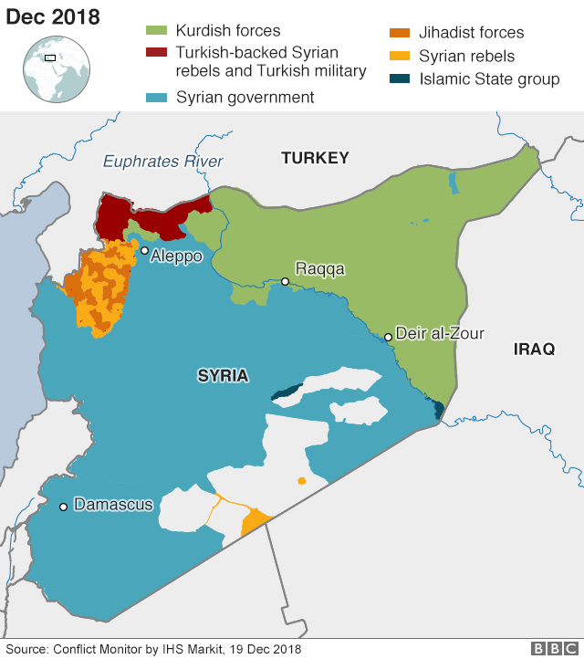 Map showing who controls where in Syria, 19 December 2018