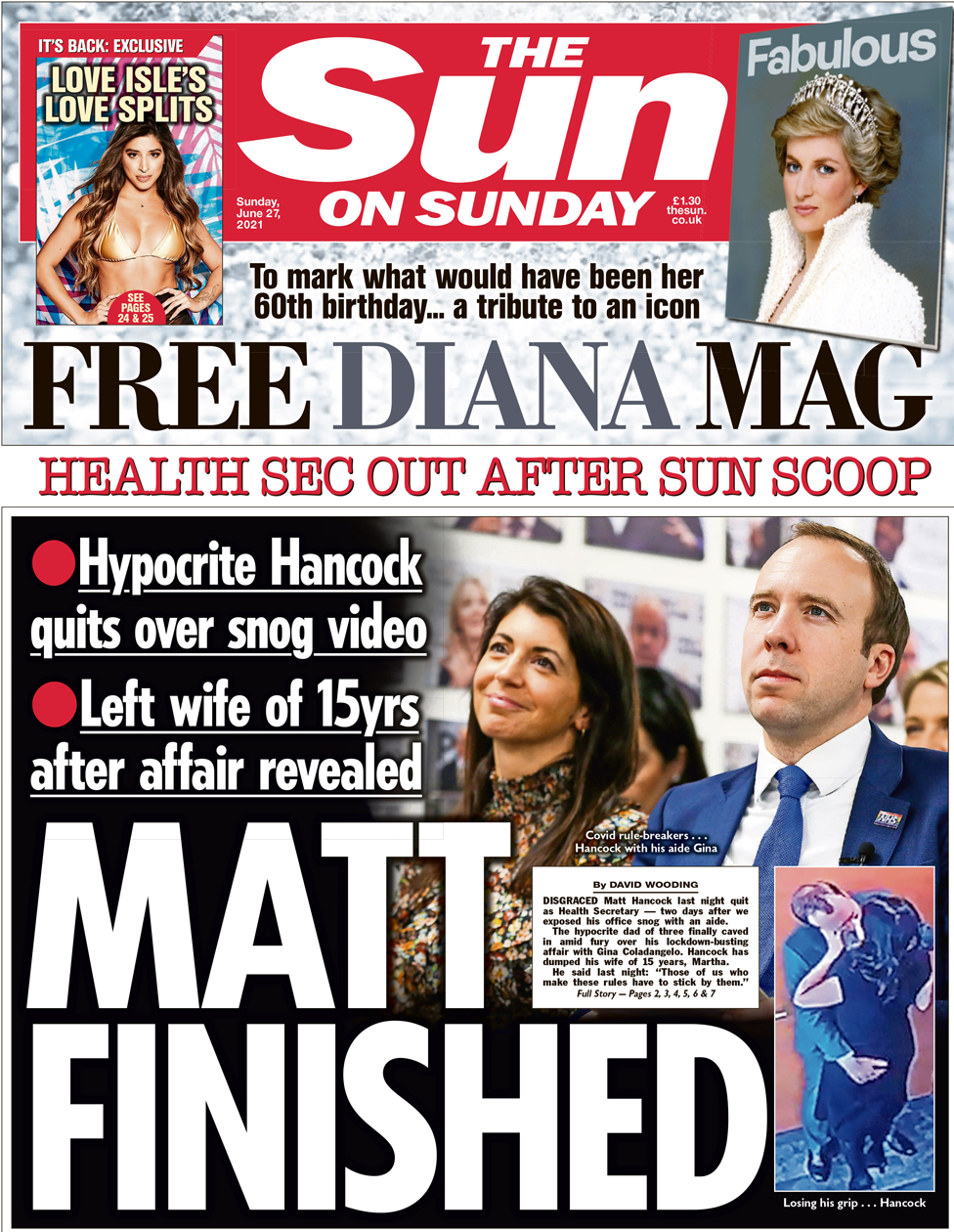Newspaper headlines: 'Matt finished' as 'humiliated' Hancock quits - BBC  News