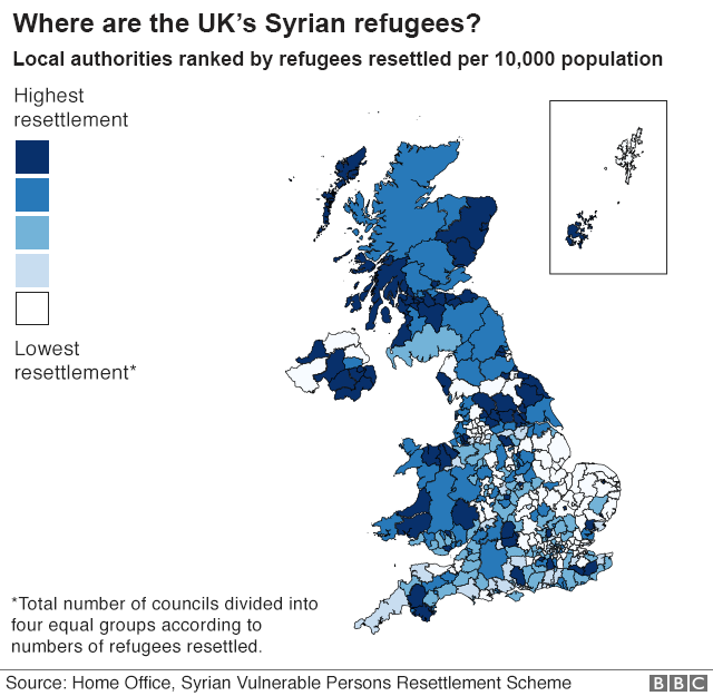 Map showing the settlement of refugees by local authority