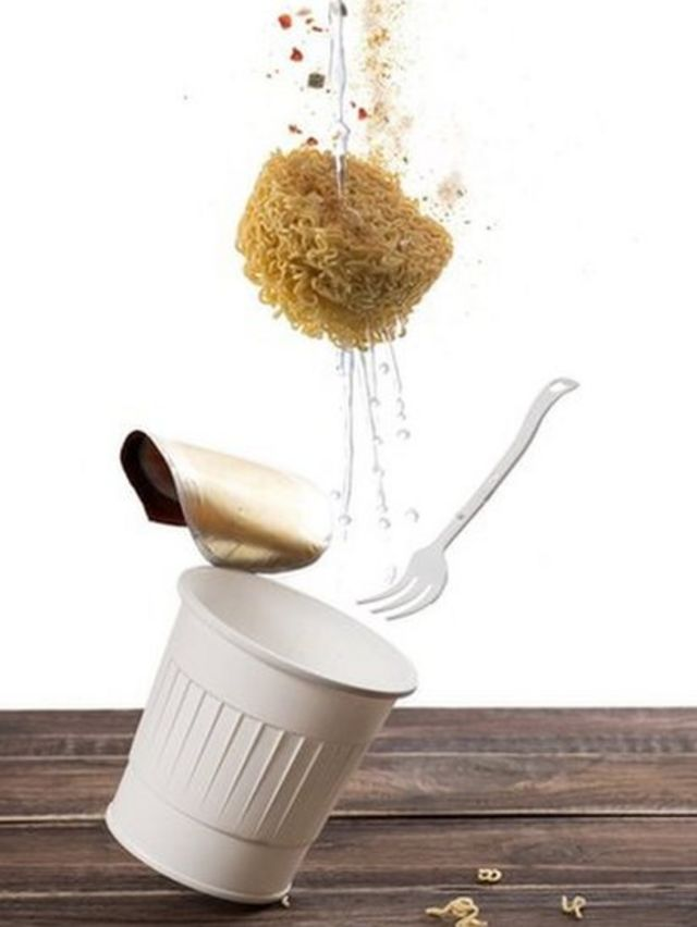 Flying instant cup noodle on white background ,instant cup noodle floating