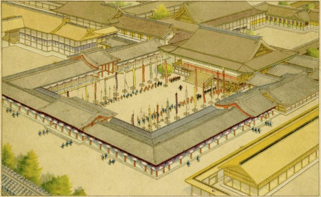Old drawing of the coronation of Emperor Taisho at the Imperial Palace in Kyoto, Japan, July 1912