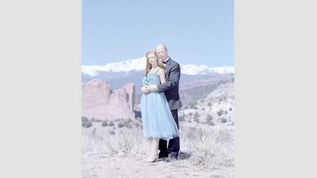 Grace Kruse, de 14 anos, e o pai, Gary, no Colorado