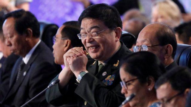 Bộ trưởng Quốc Phòng Trung Quốc Trường Vạn Toàn tại Hội nghị Bộ trưởng Quốc phòng ở Phillipines hôm 24/10