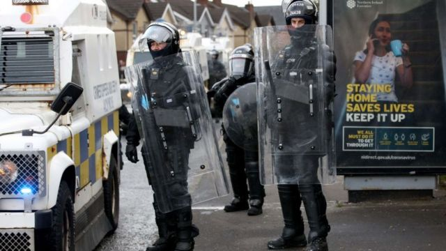 Riot police in Northern Ireland
