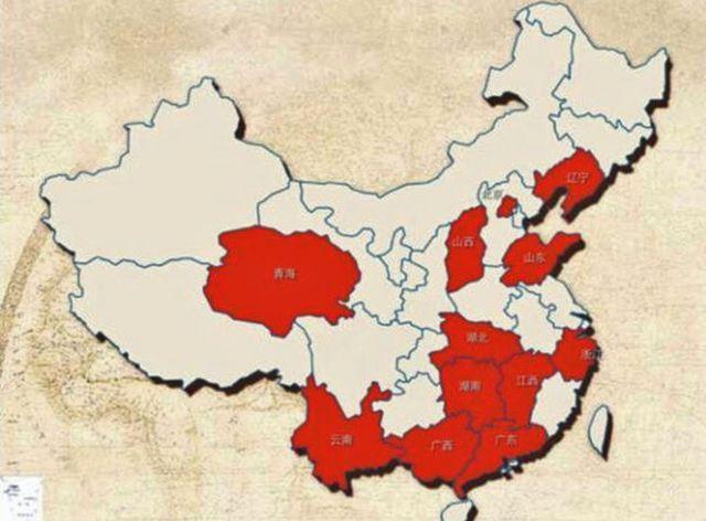 Карта с регионами Китая, где, по данным People's Daily, происходит больше всего измен