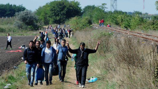 ハンガリー国内の線路沿いに移動する移民たち