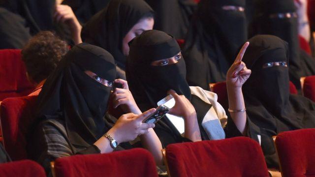 Saudi women attend a short-film festival in Riyadh on 20 October 2017