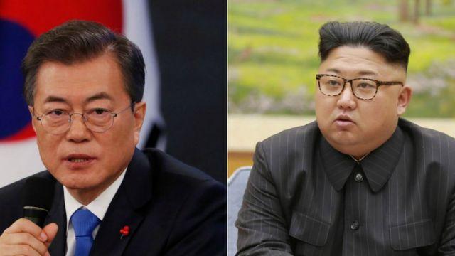 South Korean President Moon Jae-In and North Korean leader Kim Jong-un