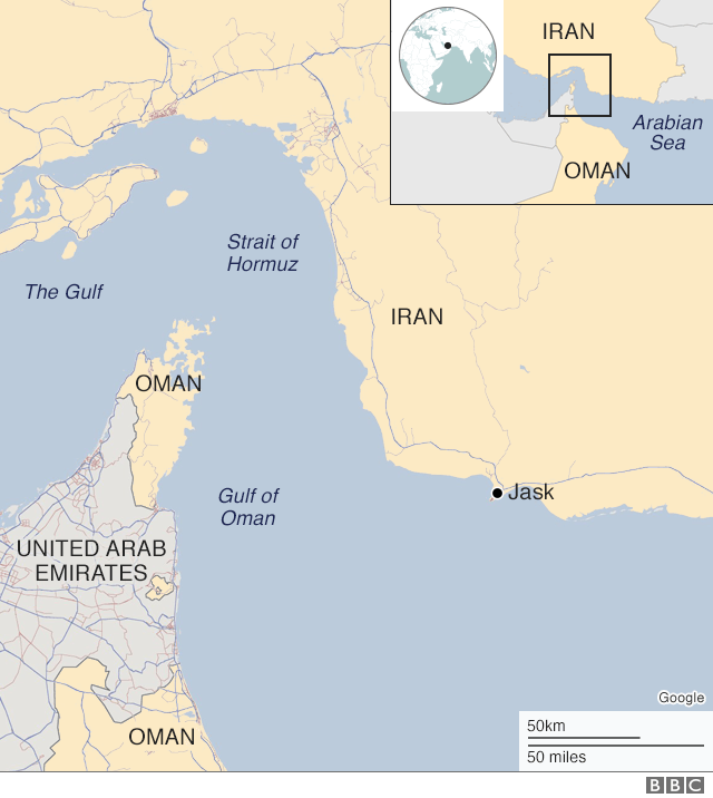 Map showing Gulf of Oman and Jask port