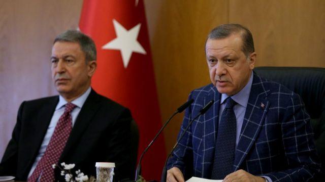 Cumhurbaşkanı Erdoğan ve Genelkurmay Başkanı Hulusi Akar.