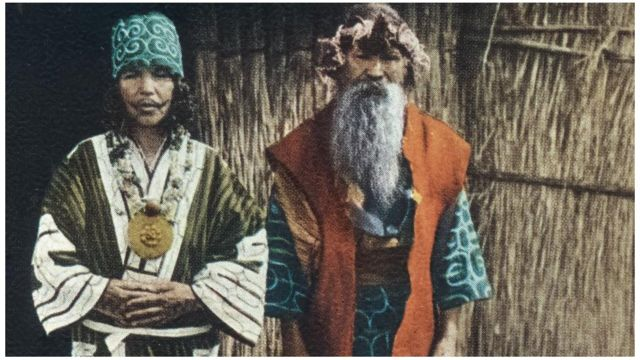 The Ainu have a cultural and aesthetic affinity with Nanai and Nivkh tribal minorities (Textiles of Japan: The Thomas Murray Collection at The Minneapolis Institute of Art )