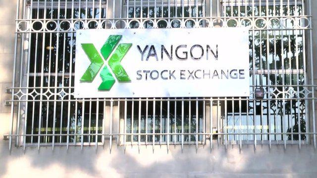 Exterior of Yangon Stock Exchange showing sign