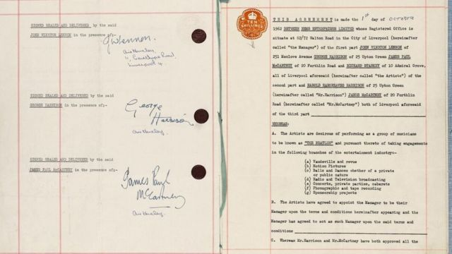 Beatles first contract