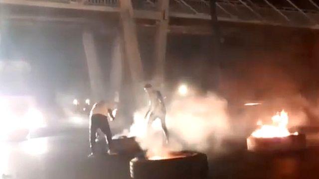 عکسی از یک ویدئو که از اعتراضات خوزستان در توییتر منتشر شده