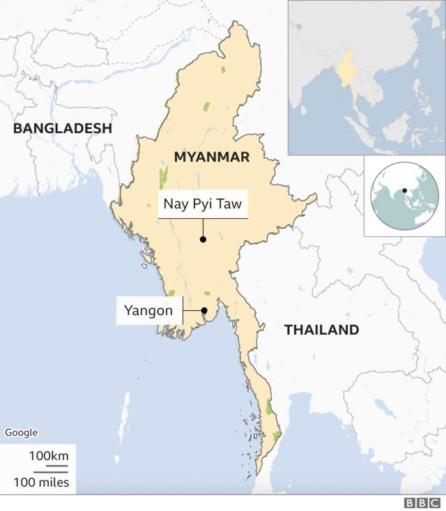 म्यानमारको नक्शा