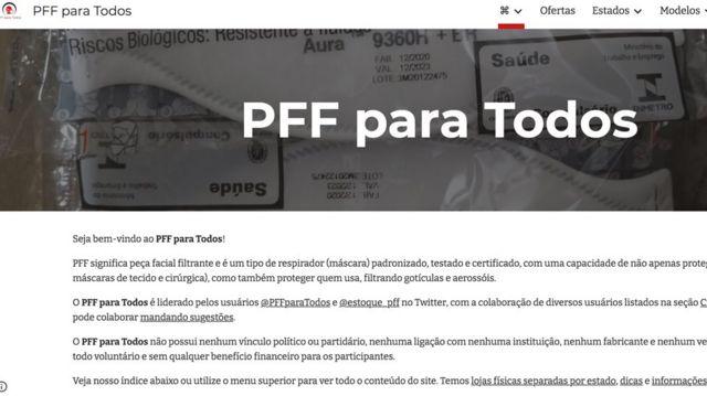 Captura de tela do site PFFF para Todos