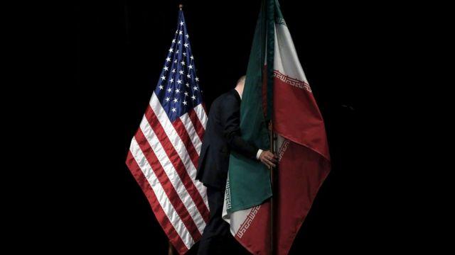 پرچم آمریکا و ایران