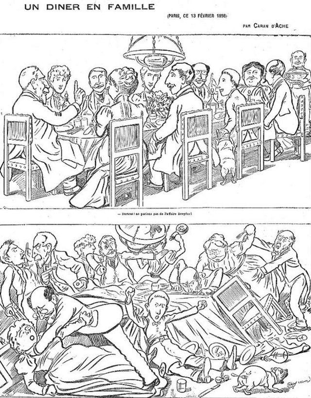 """Caricatura de Una comida familiar en la que uno de los comensales pide """"Por favor no hablemos del caso Dreyfus""""."""