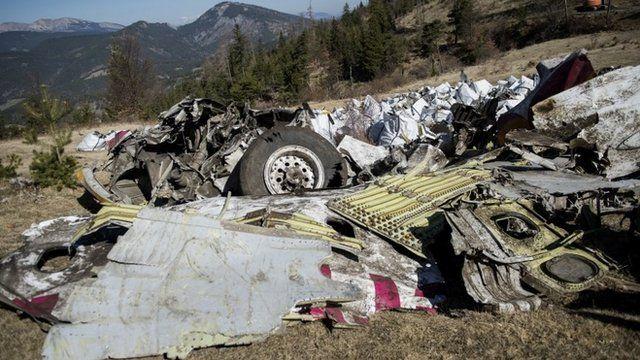 Wreckage of the Germanwings passenger jet