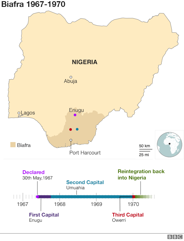 Map showing Biafra