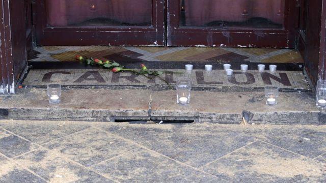 Doorstep of Carillon bar in Paris, 14 November 2015