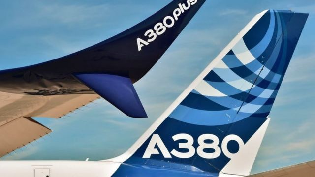 Airbus A380 wing and tail