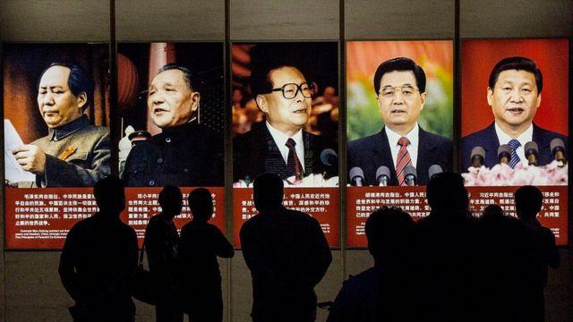 Líderes históricos chinos: Mao Zedong, Deng Xiaoping, Jiang Zemin, Hu Jintao y Xi Jinping.