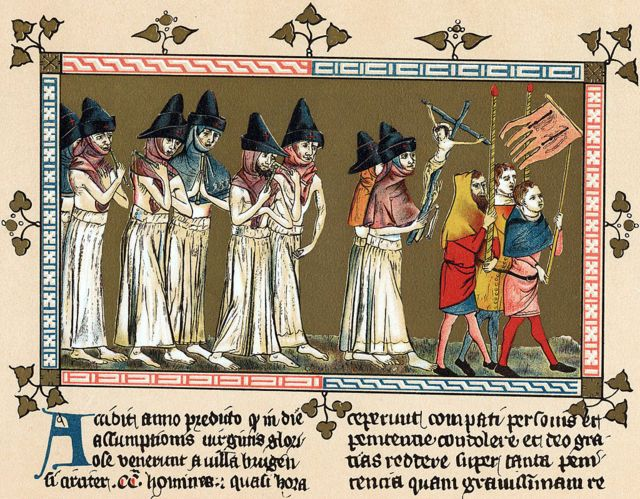 Ilustração antiga mostra procissão, com pessoas vestindo trajes escuros e carregando crucifixo